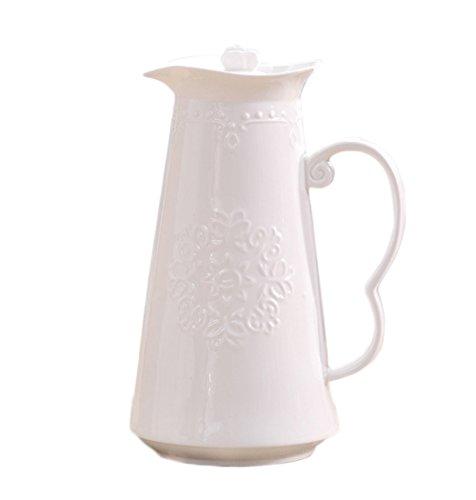 Théière Avec Couvercle Grande Blanc Porcelaine D'os Sculpture Papillon Fleur