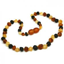 *Safety Clasp & Safety Knotted* Bouncy Baby Boutique(Tm) - Certified Authentic Baltic Amber Teething Necklace - N34 Raw Multicolor