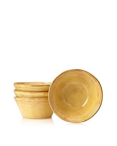 COLI Bakeware Set of 4 Italian Stoneware Round Cereal Bowls, Saffron