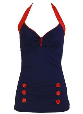 Navy Blue Retro Pin up Rockabilly Sailor Nautical Swimsuit Swimwear