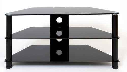 Demagio DM023-BG-BL-Black Glass and Black Column Stand for LCD and Plasma TV - 1000mm Wide, Recommended for Screen Sizes up to 42