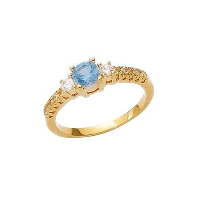18K Gold Plated Blue & Clear Cubic Zirconia Solitaire Band Engagement Ring - Size 9