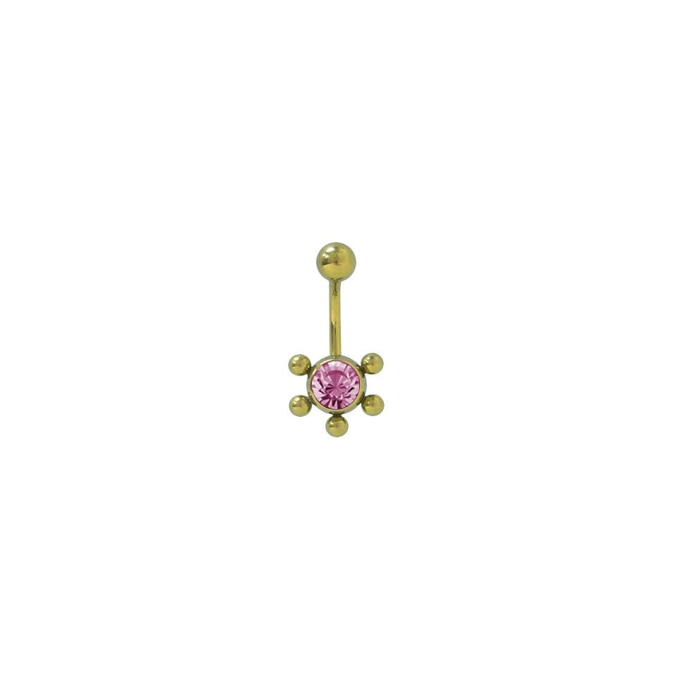 Gold Color Solid Titanium Belly Ring with Purple Cz Jewel