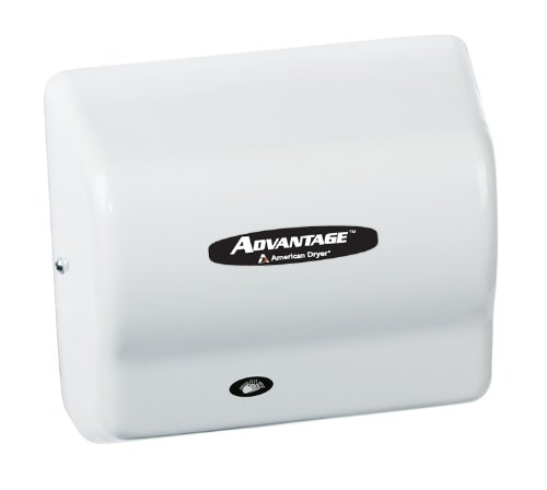 """American Dryer Ad90 Advantage Abs Standard Automatic Hand Dryer, 1/8 Hp Motor, 100-240V, 5-5/8"""" Length X 10-1/8"""" Width X 9-3/8"""" Height, White"""
