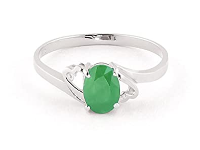 QP Jewellers Natural Emerald Ring in 9ct White Gold, 0.75ct Oval Cut - 1854W