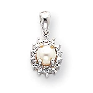 IceCarats Designer Jewelry 14K White Gold Diamond Cultured Pearl Birthstone Pendant