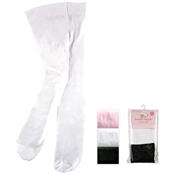 3-Pack Tights for Baby, Black-Pink-White, 9-18 Months
