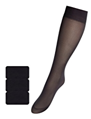 3 Pairs of 40 Denier Silky Soft Knee High Socks