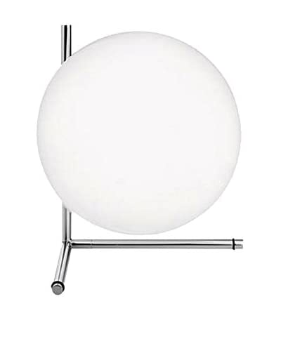 Flos Lampada Da Tavolo Ic T2 Vetro Bianco/Cromo Ø30 H 35 cm