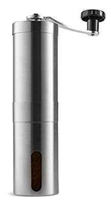Manual Coffee Grinder , YooNeo Portable Hand Crank Ceramic Burr Coffee Mill - Stainless Steel from YooNeo