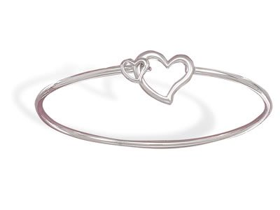 Rhodium Plated Bangle with Satin and Polished Hearts in Center