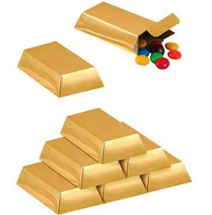 Foil Gold Bar Favor Boxes Party Accessory (1 Count) (12/pkg) from PMU