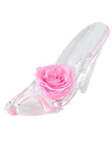 誕生日 記念日 プレゼント 女性 ピンク バラ (スワロフスキー 付) シンデレラの靴 プリザーブドフラワーギフト ( お磨きクロスと手提げ袋 ギフトラッピング済)