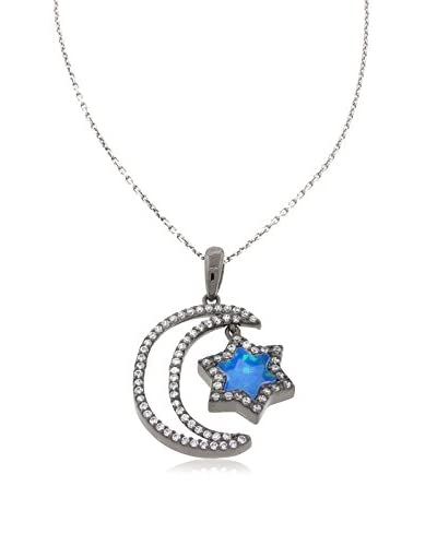 Pori Jewelers Black Rhodium Ptd Sterling Silver Moon WCZ and Star Blue Created Opal Pendant Necklace