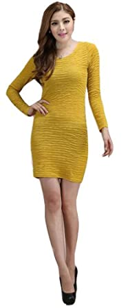 Demarkt New Women's Chic One-piece Design Long Sleeves Dress Round Neck Soft Wave Pleated OL Mini Dress Cocktail Club Party Costume Wear Above Knees Deep Yellow Size XXX-Large