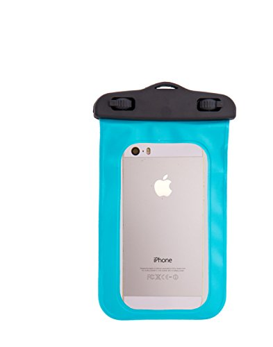 SwimCell 100% Waterproof Case For Phone, Camera, Money, Keys. Blue. High Quality. Tested to 10M/33 feet. Certified IPX8. Fits Most Phones 3.93in x 5