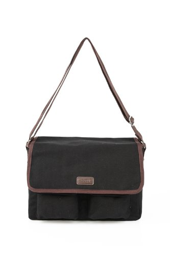 Sachi 195-171 Insulated Canvas Messenger Lunch Tote, Black - 1