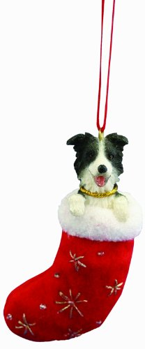 """Border Collie Christmas Stocking Ornament with """"Santa's Little Pals"""" Hand Painted and Stitched Detail"""