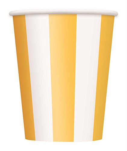 12oz Yellow Striped Paper Cups, 6ct