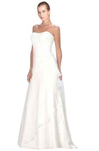A-linie BRAUTKLEID Hochzeitskleid Chiffon Trägerlos mit Stickerei und Deckleisten (36, Elfenbein)
