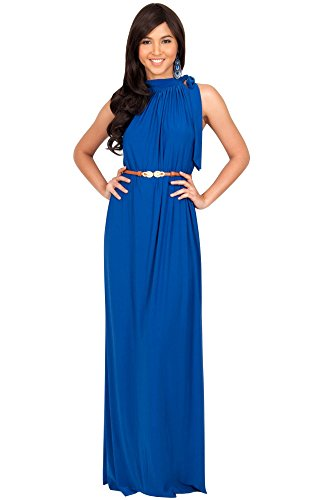 KOH KOH Petite Size Womens Long Prom Formal Evening Bridesmaid Summer Flowy Gown Maxi Dress, Color Cobalt / Royal Blue, Size Small / S / 4-6 (Cobalt Blue Bridesmaid Dresses compare prices)