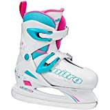 Lake Placid Girls Nitro 8.8 Adjustable Figure Ice Skate, White, Small