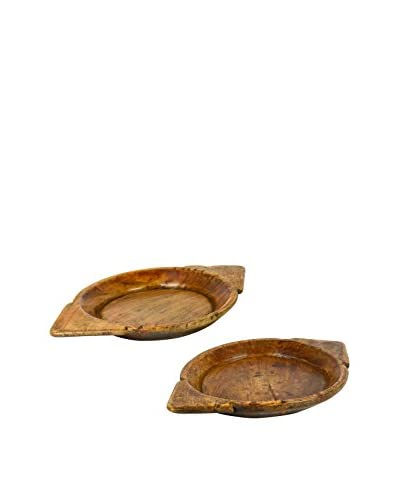 Uptown Down Set of 2 Vintage Wooden Chapati Bowls