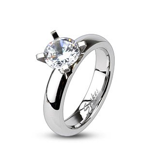 High Polished Stainless Steel Solitaire Engagement Ring For Women with Small Round Cubic Zirconia