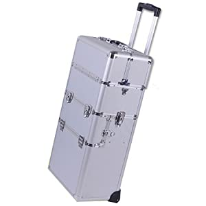38-in 2in1 Professional Rolling Train Aluminum Cosmetic Makeup Case Silver w/ Key Lock Storage Trays Wheels Handle Strap Velvet Int Beauty Travel Detachable Tote Box