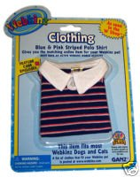 Webkinz Clothes - Blue and Pink Striped Polo - 1