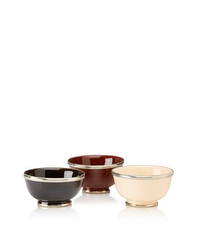 Found Objects Set of 3 Assorted Bowls, Brown/Black/Cream