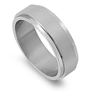 Size 14, 8MM Stainless Steel Brushed Spinner Wedding Band (Size 6 to 14)