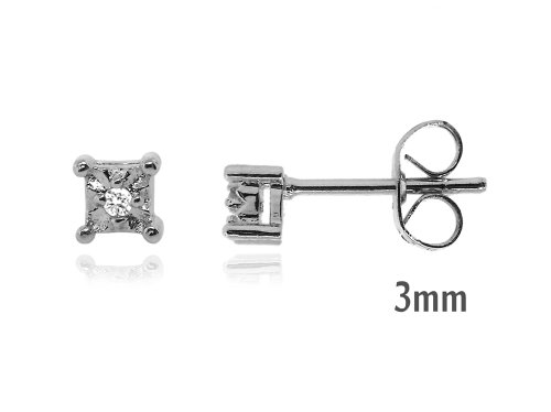 Sterling Silver 925 Genuine Diamond Accents 0 .02cts (Color H-I, Clarity I3) Stud Earrings