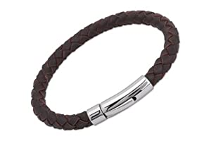 Unique Men 19cm Dark Brown Leather Bracelet With Stainless Steel Clasp by Unique Jewelry Ltd