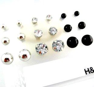 H & M Elegant Stud Earrings Set Silver