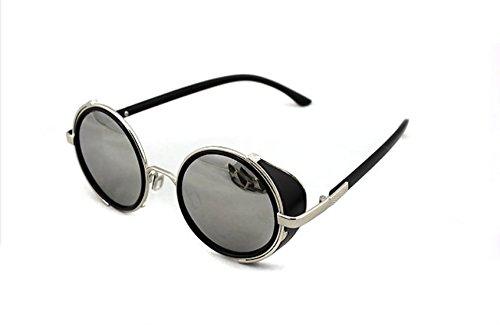Vintage 50s Steampunk Round Mirror Lens Glasses Sun Glasses Men Women Unisex Retro Style Glasses Circle Frame Blinder Sunglasses Cyber Goggels Eyeglasses Eyewear Grey 5