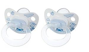 Nuk 710106 - Chupetes de silicona (2 unidades, T 2), color azul marca Nuk en BebeHogar.com