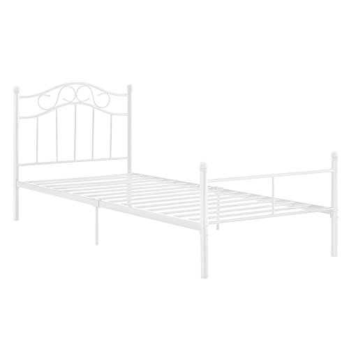 encasa-Metallbett-90x200-wei-Bettgestell-Bett-Jugendbett-Metall
