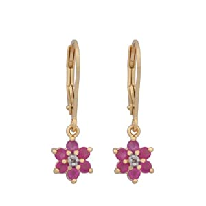 18k Yellow Gold Plated Sterling Silver Ruby Flower Dangle Earrings