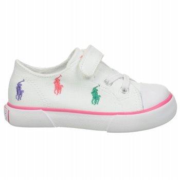 Polo Ralph Lauren Kids Bal Harb Captoe Captoe High Top Sneaker (Toddler),White Multi,6 M US Toddler