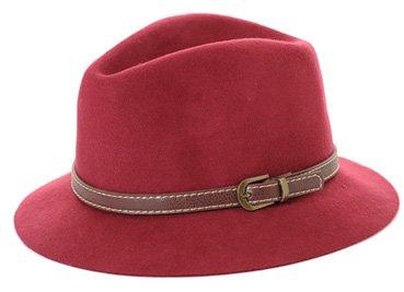 Amazon.co.jp: (Clack) レディース 帽子 / ハット 中折れ ベルト 付き フェルト ウエスタン ウール 合皮 ベレー帽 Free ボルドー: Amazonファッション通販
