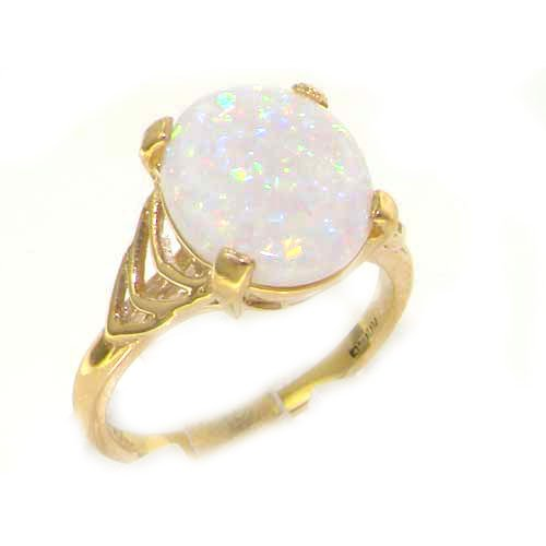 Luxury 9ct Yellow Gold Large Opal Solitaire English Ring - Size M - Finger Sizes L to Z Available - Perfect Gift for Mum, Wife, Daughter, Grandaughter, Grandma
