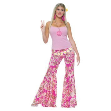 Pink Flower Power Bell Bottom Trousers. Ideal for 70s dress-up.