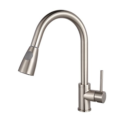 Read About Luxice Modern Stainless Steel Single Handle Pull Down Spray Kitchen Sink Faucet, Brushed ...