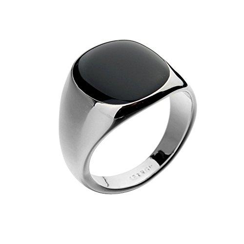 Yoursfs 18k Or blanc plaqué Solitaire en Opal noir de Bague pour Hommes comme cadeau ou pour Fete
