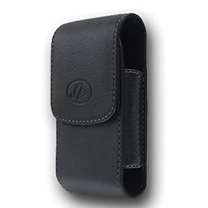 Premium Vertical Leather Pouch Case with Belt Clip for Samsung Galaxy Prevail SPH-M820 Precedent