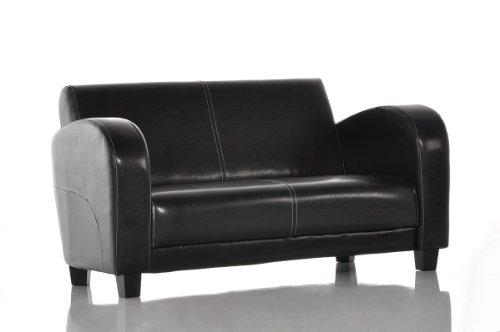 Sofa Vernice 150x85 cm Antik-Schwarz Nähte Weiss 2-Sitzer