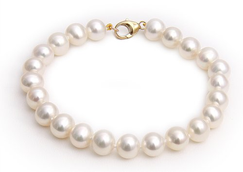 9ct Yellow Gold 7-7.5mm White Semi Round Cultured Freshwater Pearl Bracelet