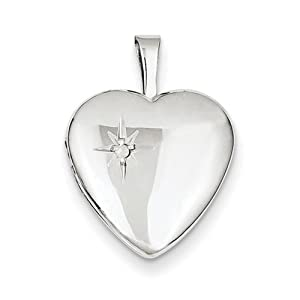 IceCarats Designer Jewelry Sterling Silver Diamond 16Mm Polished Heart Locket