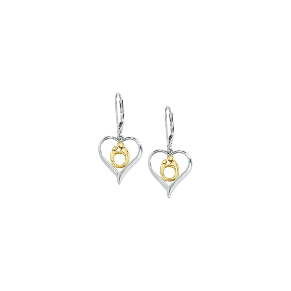 10K Gold Sterling Silver Hollow Heart Mother and Child Earrings by Janel Russell Dangle Earrings Jewelry